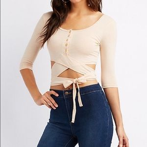 Charlotte Russe Button Up, Tie Front Crop Top